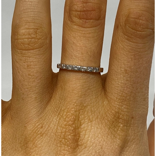 59 - 18ct white gold 7 stone princess cut diamond eternity ring fully HM .25ct diamond...