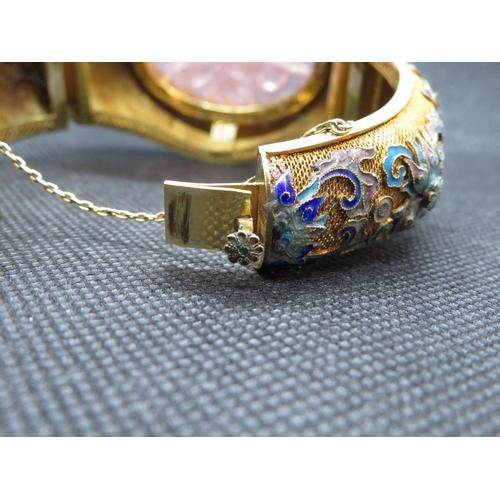 15 - Large cloisonne and filigree 14ct gold bracelet with large rose quartz stone frontpiece  HM 14ct  11...