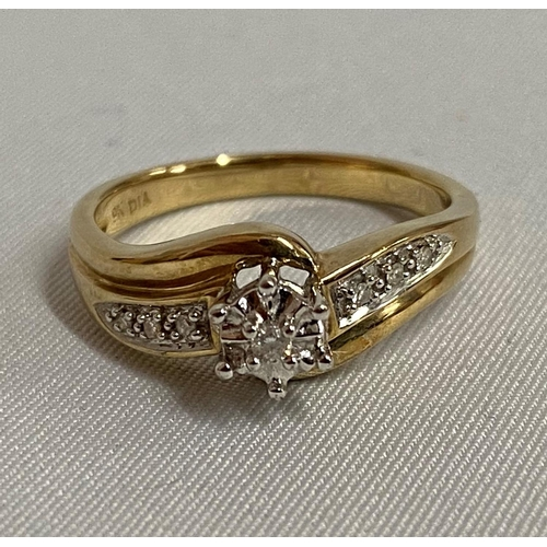 9ct gold diamond set crossover ring fully HM 3.3g