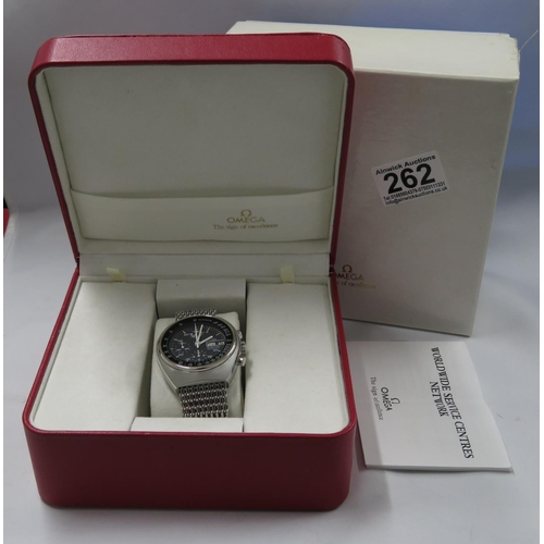 262 - Omega boxed 1970's Speedmaster Automatic 9 function watch...