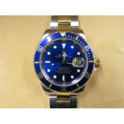 263 - Men's Rolex Submariner 1998 boxed with papers  bi-metal 1998 excellent condition...