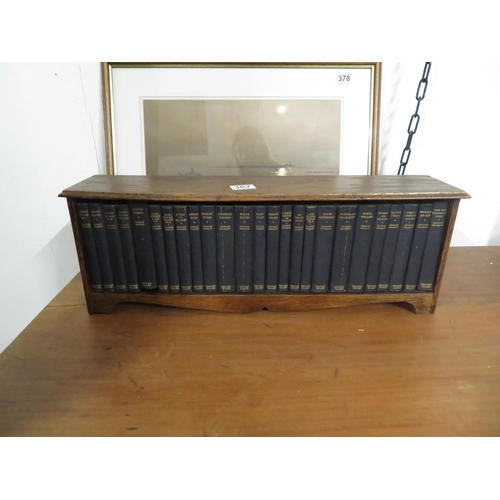 """Collection of 25 Dickens novels - books in 2' x 9"""" wooden shelf"""