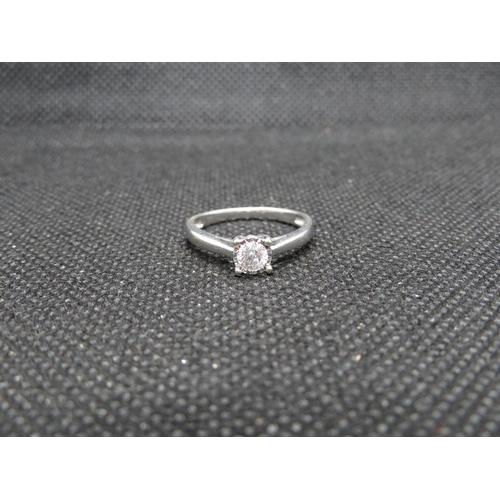 Half carat diamond and 18ct white gold ring size N