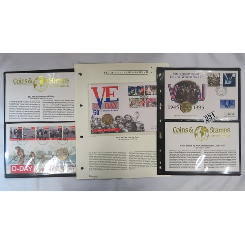 1x 50p Anniversary of D Day, 1x £2 VJ coin, 1x £2 VE Day in stamp cover