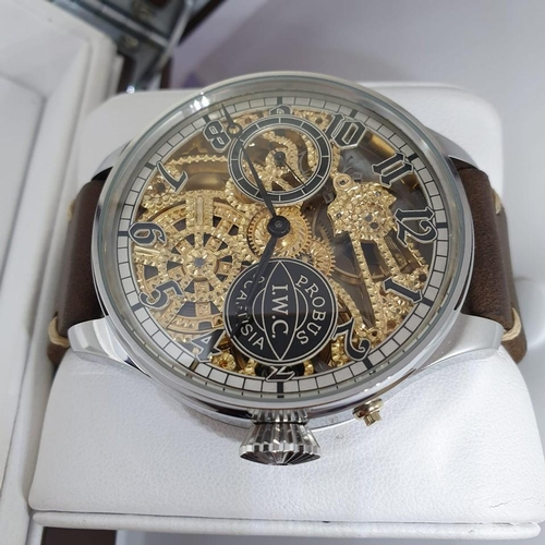 193 - IWC Skeleton designer's watch movement engraved and skeletonised by experienced watchmaker (handmade...