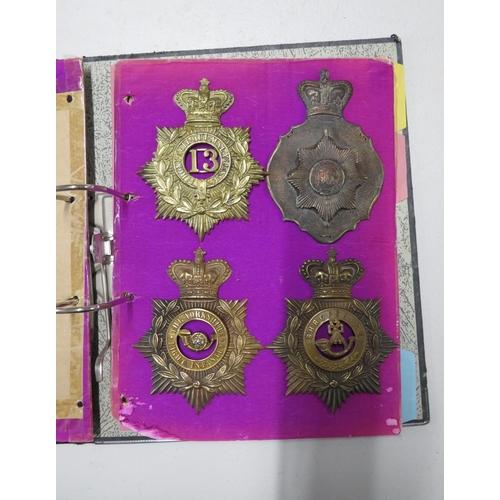 360 - Original collection of 7x British Army Shako helmet plates Yorkshire LI, Shropshire LI, Enniskillen,...