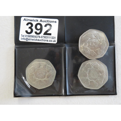 3x 1973 European 50p coins