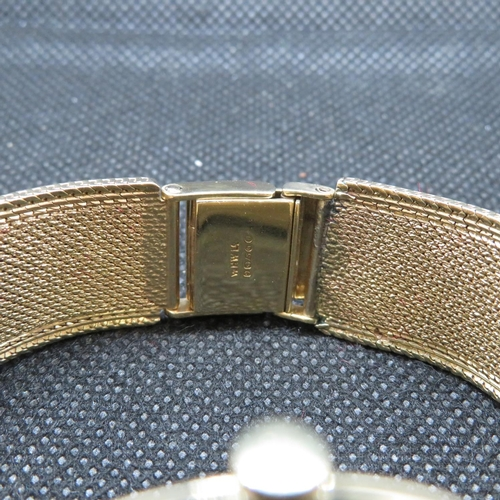 218 - Omega Gents Geneve manual wind dress watch 9ct case and 9ct mesh bracelet brushed silver dials signe...