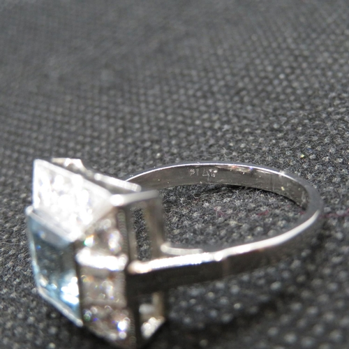 5 - Platinum art deco ring set with 1.6ct aquamarine with approx 1ct diamonds size O    7g...