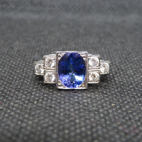 6 - Art Deco platinum ring with kashmir sapphire and 6 brilliant cut diamonds size N    6.5g...