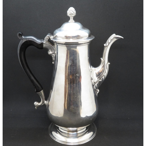HM silver early English coffee pot 18thC Newcastle HM 891g