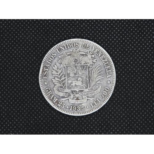 327 - Silver Bolivar 1935 25g coin...