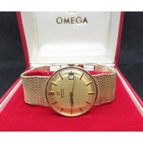 329 - 9ct Omega automatic watch fully HM strap, comes complete with manual and paperwork and box - fully w...