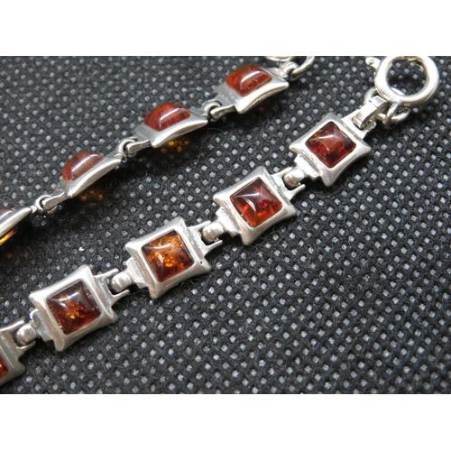 11 - Vintage silver bracelet set with Baltic amber 8