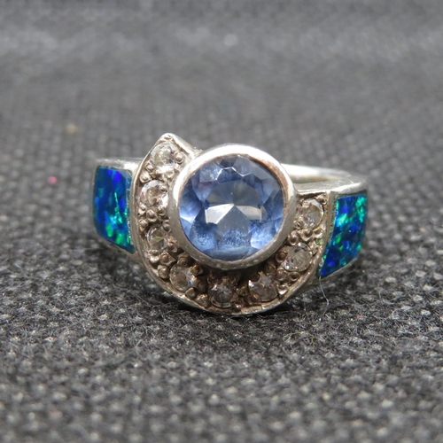2 - Silver abstract ring set with blue topaz cubic Zirconia and black opal 5g...