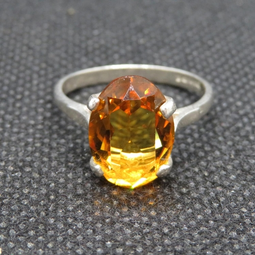 23 - Vintage silver ring set with large Cairngorm citrine stone HM Birmingham 1979  3.5g...