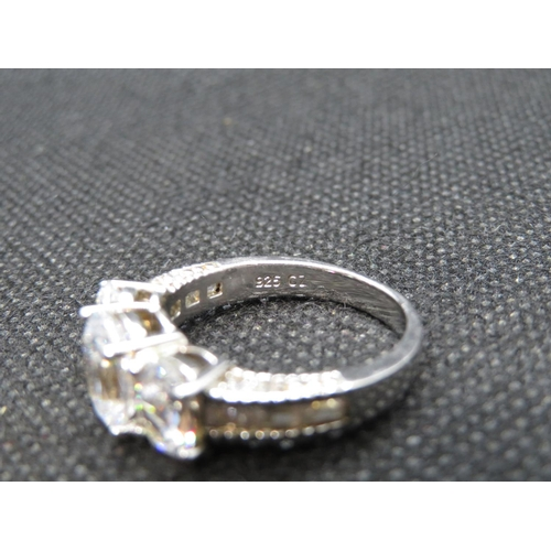 24 - Silver 3 stone ring set with CZ size P  5.3g...