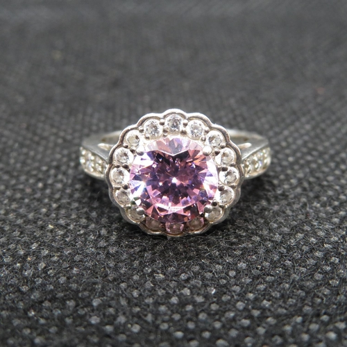 36 - Silver cluster ring set with pink and white CZ size L...