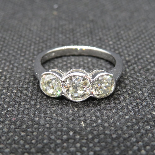 45 - Antique platinum ring MILLEGREIN set with 3 old cut diamonds total weight in excess of 1.5cts size M...