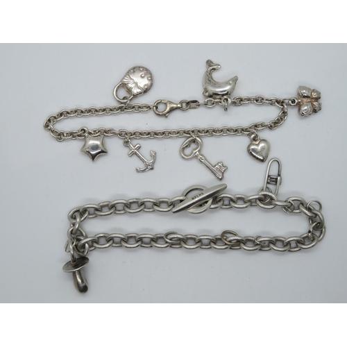 2x silver charm bracelets