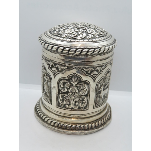 Burmese or Indian silver marked lidded jar by EA and S 950 grade silver 158g