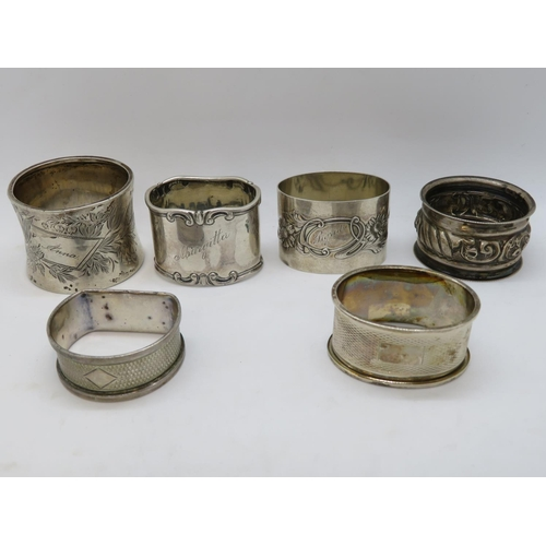 Collection of silver HM napkin rings 122g