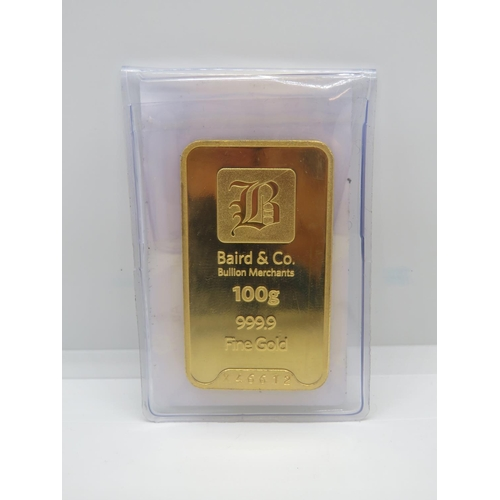 Baird and Co 100g 999.9 fine gold bullion bar with paperwork