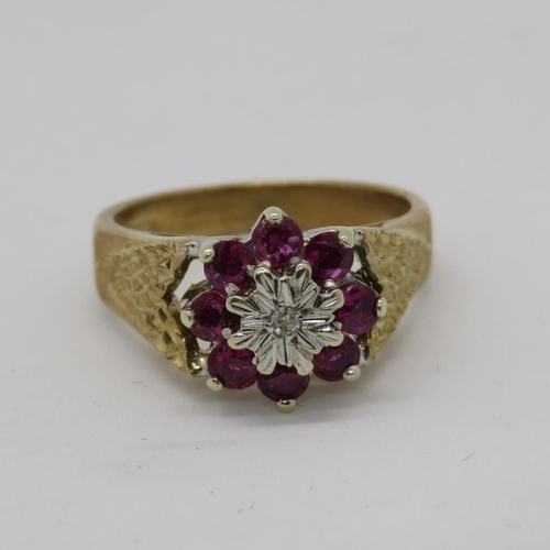 Ruby and diamond cluster ring HM 9ct gold with bark effect shoulders 3.5g size S
