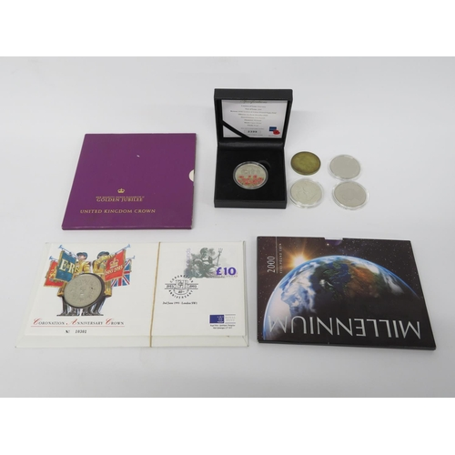 Selection of £5.00 coins and proof coins