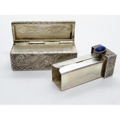 153 - Silver lipstick holder - mirror removed - with lapiz lazuli stone fastener