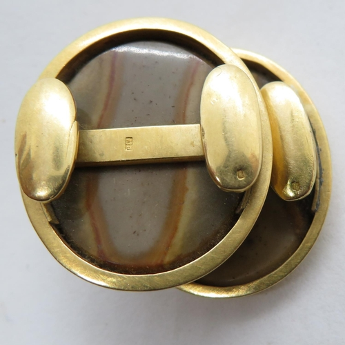 154 - 18ct with marble inserts with faces - possibly shoe buckles - 16.5g...