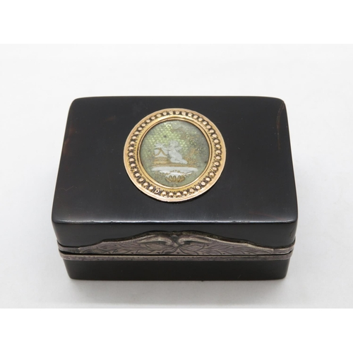 280 - Fine gold and tortoiseshell and silver patch box - very fine condition
