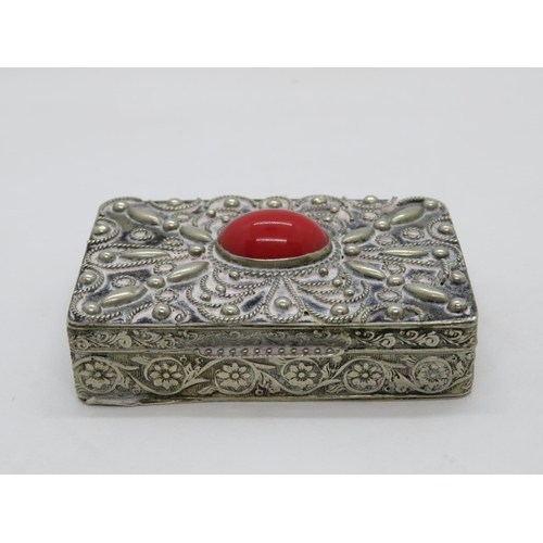 281 - Silver and coral patch box...