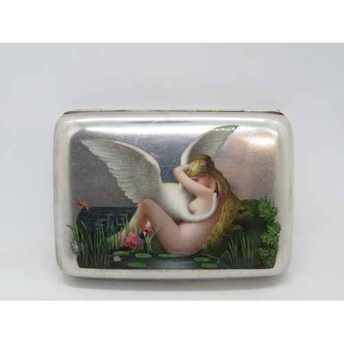 290 - HM silver and original enamel  cigarette box with naked Goddess Leda and swan...