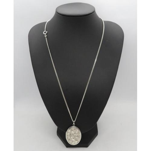 "Vintage silver locket by JA Maine Ltd on 24"" silver curb link chain 26.2g"