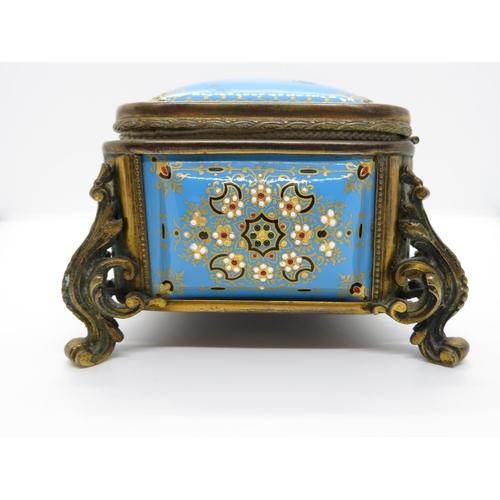 311 - Painted glass jewellery box - possibly Russian - excellent details 8