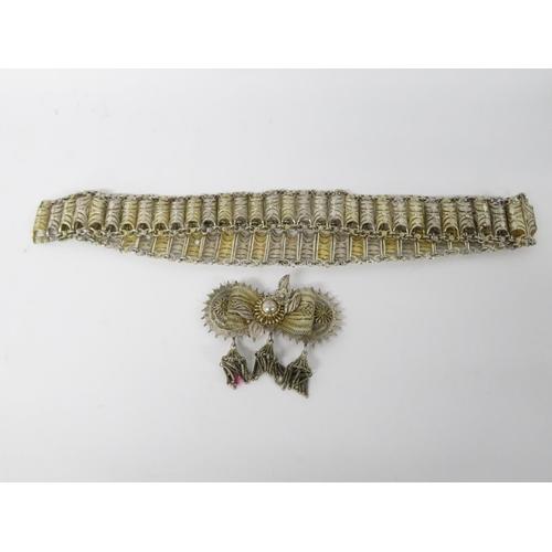 Burmese silver belt and buckle 300g filigree detail