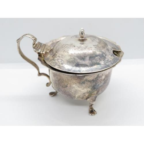 Silver mustard pot large 95g including liner