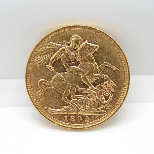 VF condition 1892 full sovereign