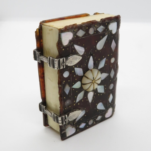 333 - Mother of Pearl and Ivory snuff box in form of book with silver hinges 3