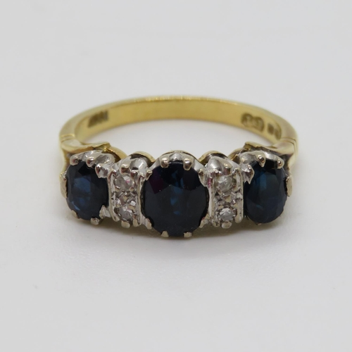340 - 18ct sapphire and diamond ring size N