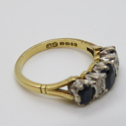 340 - 18ct sapphire and diamond ring size N...