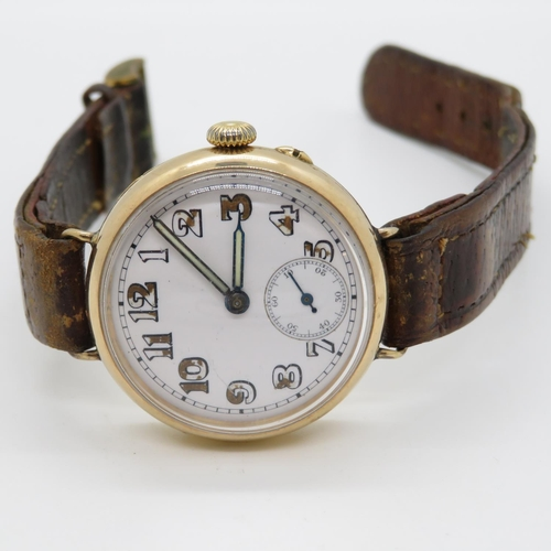 341 - Heavy 18ct gold trench watch