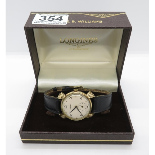 354 - Vintage gold boxed Longines wristwatch with unusual fluted lugs...