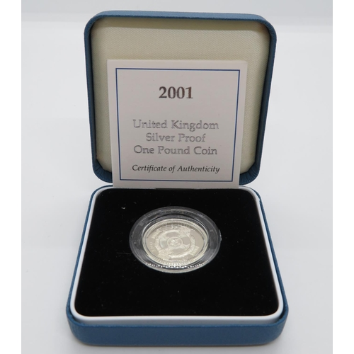 2001 silver proof £1 coin