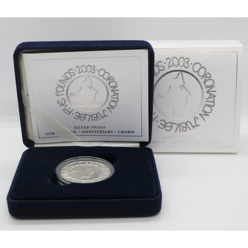 Coronation Jubilee Silver £5 proof coin boxed