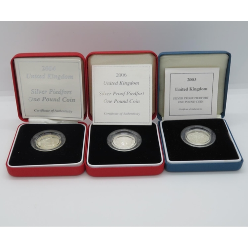 2004 silver Piedfort £1 coin boxed and 2006 silver proof Piedfort £1 coin boxed and silver proof £1 coin 2003 boxed