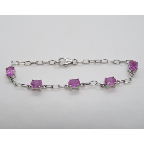 "Silver bracelet set with pink tourmaline stones 7.25""  6g"