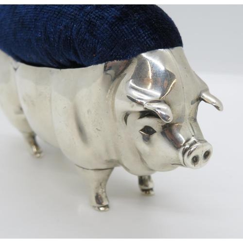 19 - British HM large silver pig pin cushion maker L and S Birmingham 4