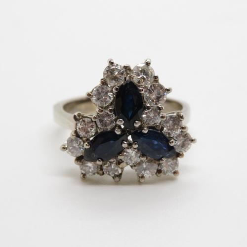 18ct sapphire and diamond marquis sapphire 6.25ct approx 1.1ct diamonds